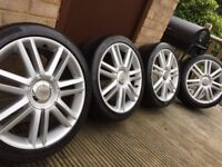 "Genuine Audi S3 A3 18"" S Line Alloy Wheels & Tyres 5x112 VW Seat A4"