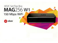 MAG 256 W1 BOX , 12 MONTHS IPTV SERVICE HD QUALITY,7 DAYS CATCH UP &EPG SERVICES(BARGAIN SALES)