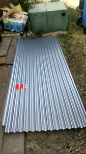2 sheets of 4x8' corrugated 26 gauge galvinized steel.