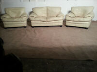 2 Seater & 2 Chairs Leather Cream Sofa Couch- DELIVERY AVAILABLE