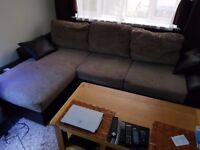 Brown fabric corner sofa bed with storage, 3 years old, fully functional