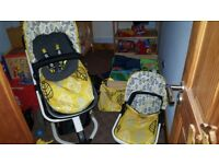 Cosatto pushchair and cotbed. Excellent condition includes raincovers, footmuff matching bag
