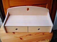 Shabby chic cream shelf with drawers for storage. Desk or telephone table tidy. Kitchen bathroom NEW