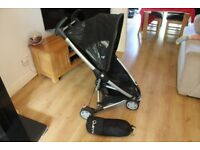 Quinny Zapp Buggy in black with matching Foot Muff and Basket