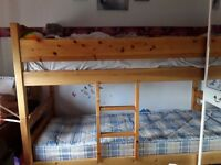 Pine bunk beds with one mattress if wanted