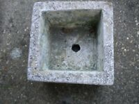 A VERY OLD STONE SQUARE PLANTER 8X8X5 INCHES