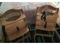 2 X Wood baby a High chair that grow with your child.