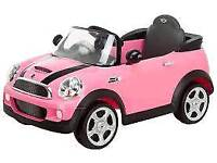 Pink battery powered mini cooper