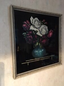 Vintage Floral Painting on Glass
