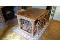 Solid Pine Refectory table & 4 Chairs