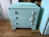 £60 for both shabby chic mint green reclaimed children's wardrobe and drawers with owl handles.