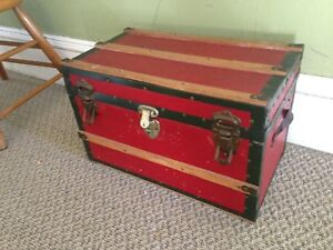 Antique Wooden Children's Doll Trunk