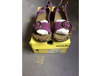 Bargain New Fly London Purple wedge sandals size 4/37
