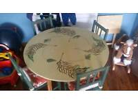 Hand Painted Leaf Table & 4 Chairs