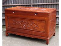 A Quality Chinese Carved Camphor Wood Blanket Box, Fitted Interior UK Delivery Available
