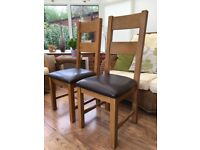 Two Oak Dining Chairs