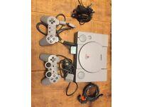Original Playstation Console + 2 Controllers + Memory Card + Original Cables
