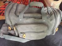 Plambag Mens Canvas Holdall Duffel Bag Large Travel Weekend Shoulder Handbag 50L Light Grey