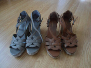2 Pairs of Buckle Up Wedge Sandals...Practically New!  Size 7