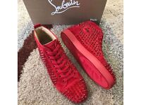 Christian Louboutin Red Suede High top Spiked Red Bottom for men
