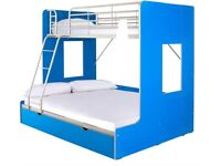 Florida Trio Bunk With Drawers. BLUE **Bed frame only**H 171, W 196, D 148 cm.