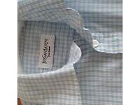 YvesSaint Laurent Mens Blue Check Shirt Small