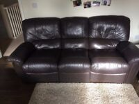 Brown Leather Recliner Sofa (Free to collect)