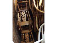 4x pine fiddleback chairs & farmhouse table