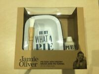 Jamie Oliver pie dish with pastry brush and pie funnel