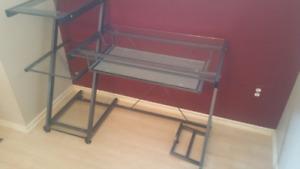 Four Tier Glass Desk w/ Slideout Keyboard Level