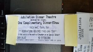 AWESOME TIX to JUBILATIONS DINNER THEATRE for 2