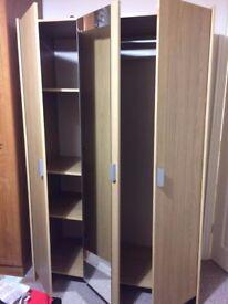capella 3 door mirror wardrobe with 4 shelf