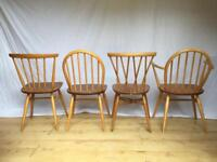 Mixed Set of four vintage Ercol dining kitchen dining candlestick chairs