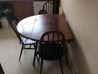 Solid wood large drop-leaf table and Four chairs