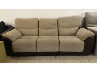 New GRADED Brown Leather and Fabric 3 seater recliner Sofa FREE LOCAL DELIVERY