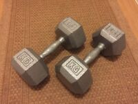 Two 15Kg iron dumbells