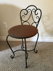 Wrought Iron and Suede style stool
