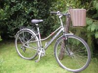 ladies dawes hybrid,aluminium frame,17 in,basket,alloy 700 wheels,tidy bike