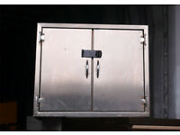 STAINLESS STEEL WORKSHOP TOOL CABINET TWO SHELVES WITH LOCKING CLASP OFFICE CUPBOARD