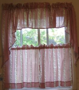 NEW Curtains - tiers & valance. Shabby chic eco-cotton 4 pieces