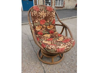 Quality rattan rocking chair with circular base + matching sofabed