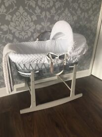 Grey Wicker Moses Basket With Rocking Stand