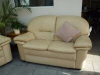 Modern Cream Leather Suite: double sofa and two chairs