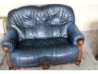 DARK BLUE LEATHER 2 SEATER SETTEE THORNHILL DEWSBURY