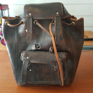 All leather handmade Guatemalan backpack