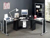 Essentials Glass Corner Computer Desk