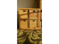Ikea Bookcase and Wicker Baskets