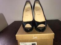 Christian Louboutin VENDOME 120 Black Leather Peep Toe Heels UK 8.5 EU 41.5