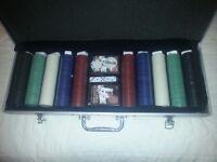 500 piece poker set (unopened) in metal carry case