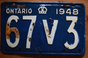 1948 Ontario License Plate in Excellent condition!
